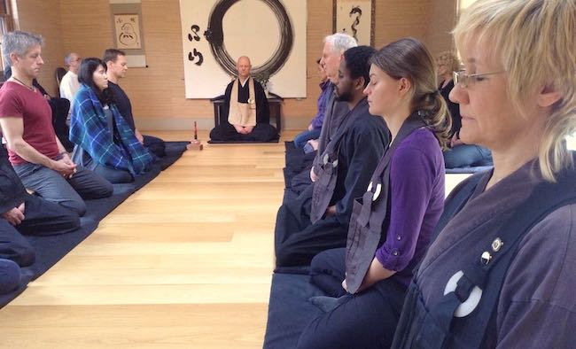 Meditating zazen at our dojo with Daizan Roshi