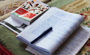 Making notes on the Zenways yoga teacher training