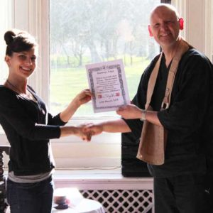 A shiny new Zenways yoga teacher training graduate