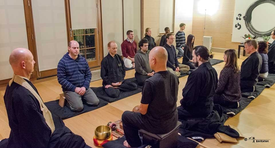 Sitting meditation (zazen) at our dojo in South London