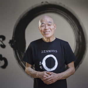 Shinzan Roshi wearing the Enso t-shirt