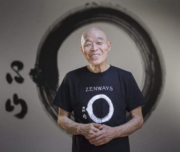 Shinzan Roshi wearing the Enso t-shirt